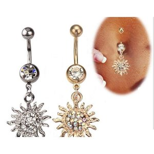 Wholesale Surgical Steel Crystal Navel Ring Electroplated Sun Flame Body Piercing Jewelry Shipping Jb5Bw