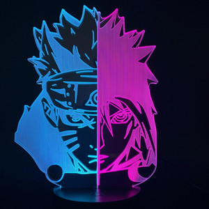 Naruto Uchiha Sasuke Uzumaki Naruto LED 3D Light Due Colore laterale Cambiare lampada da tavolo visiva per camera da letto Decorazione di Natale Y0120