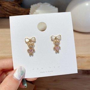S925 Silber Nadel Diamant Swarovski Wasserbohrer Katze Auge Stein Bug Bear Love Ohrringe Neue Ohrringe