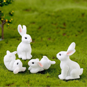 White Rabbit Family Easter Bunny Doll Ornament Toy Miniature Animals Accessory Fairy Garden Decoration Moss Micro Landscape Material WY1092