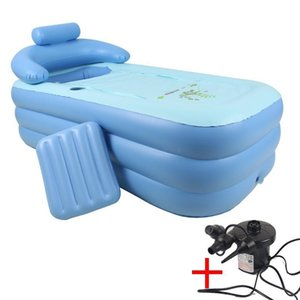 160 *84* 64cm Blue Large Size PVC Folding Portable Inflatable Bath Bathtub For Adults With Air Pump SPA Household InflatableTub