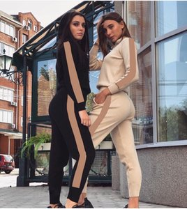 Womens Casual Fashion Autumn Spring Long Sleeved Two-piece Jogger Set Ladies Fall Tracksuit Sweat Suits Black Plus Size S-XL ree shopping