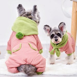 Palla Cappelli cane Sciarpa Designer vestiti del cane per cuccioli Small Animal S XXL Neve inverno spesso animali Giù parka Tuta Coat Prodotti