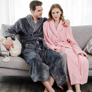2020 hot Women Men Extra Long Plus Size Warm Coral Fleece Bathrobe Winter Thermal Flannel Dobby Kimono Bath Robe Bridesmaid Dressing Gown