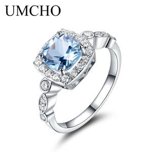 UMCHO Real S925 Anillos de plata esterlina para mujeres Azul Topaz Anillo Piedra Gemstone Aquamarine Cojín Romántico Regalo Compromiso Joyería 201006