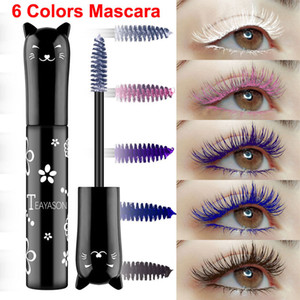 TeyAson Maquillage Mascara coloré Mascara 6 couleurs Cat Sweet Cat Couleur Mascara Maquillage Eye Cils Volume Courbe Curl Mascara Imperméable longue durée durable