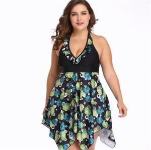Plus Size Frauen Badeanzug Mode tiefer V-Ausschnitt Halter-Strand-Bras Kleid Bikini plus Größen-Frauen-Bikini-Blumen-Tankinis