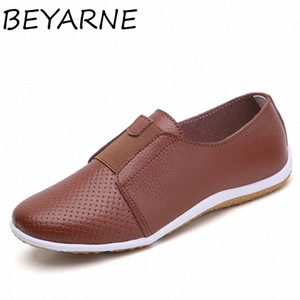 BEYARNE Summer Women Cut Out Sneakers Woman Genuine Leather Loafers Woman Shoes Low Heels Women White Flat Shoes Ladies Oxfords Lgbm#