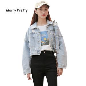 Boyfriend jeans jacket women Oversized Crop women's denim jacket Vintage Casual Loose Coat Women Long Sleeve Women's jacket 201016