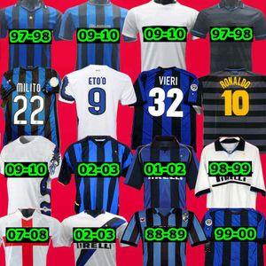 Finals 2009 2010 Milito Sneijder Zanetti Retro Futebol Jersey Pizarro Futebol Milão 1997 1998 97 99 Djorkaeff Baggio Ronaldo 02 03
