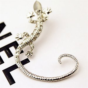 Popular nightclub ear clips shiny rhinestone rose gold exaggerated gecko lizard earrings popular earrings in Europe and America