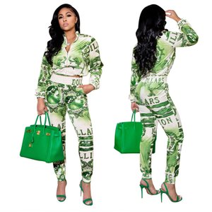 Autunno Inverno Digital Stampa digitale Green Casual Pendolaring Giacca a due pezzi con pantaloni Moda Donna Tracksuiti S-2XL