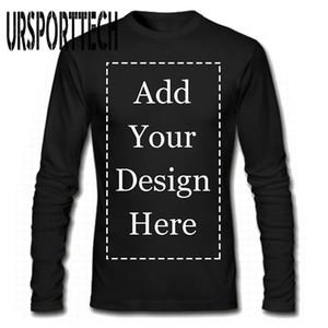 URSPORTTECH 브랜드 사용자 정의 남성 긴 소매 T는 셔츠는 귀하의 개인 맞춤형 티 201,004에 자신의 텍스트 사진 추가