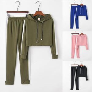 Tracksuit women 2 piece set womens sweat suit usual Solid Color Hooded Long sleeve Hoodie Sweatshirt 3