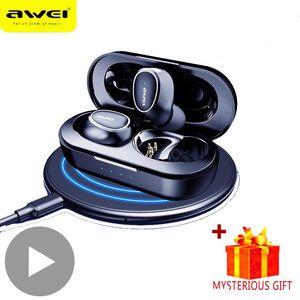 AWEI T6C T16 سماعات بلوتوث سماعة لاسلكية صحيح TWS سماعة الأذن 5.0 لفي الأذن براعم الهاتف المحمول سماعة بلوتوث يدوي