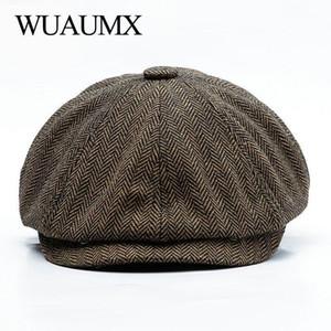 Wuaumx Unisex Autumn Winter Newsboy Caps Men And Women Warm Tweed Octagonal Hat For Male Detective Hats Retro Flat Caps chapeau1