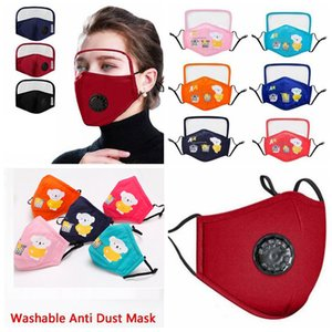 2020 Warm Kids Cotton Cloth PM2.5 Washable Face Mask with Goggle Anti-dust Mask Colorful Non-Woven Fabric Children Cloth Masks