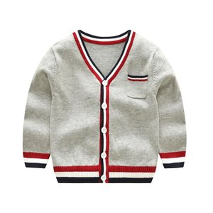 Vinnytido Pull pour enfants Christmas Simple Boys Boys Sweaters V-Cou Enfants Cardigan Cardigan rayé Y200901