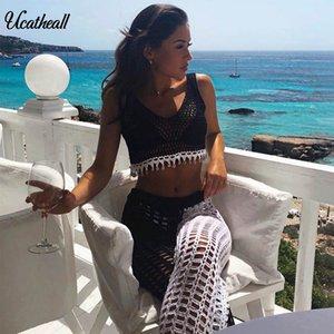 Femmes Summer Beach Tricoté évider Pants See Through Crochet Stright Pantalon creux Sexy Out Résille Pantalon large