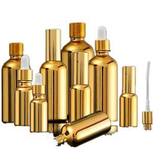 15PCS oro in vetro bottiglie di olio essenziale Vial Cosmetic Siero Packaging lozione pompa dello spruzzo dell'atomizzatore bottiglia contagocce 5/20 / 30ML 201012