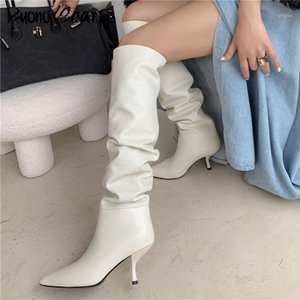 Sexy Slim Women Boots puntiagudo Toe Pleated Brand Designer Shoes de cuero genuino Stiletto Kitten Tacón Baile Botas Femeninas Zapatos1