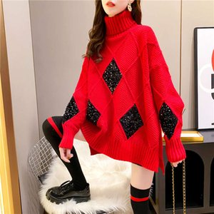 2020 winter new high Turtle Cowl neck Pullover women's loose and lazy dress versatile diamond Sequin sweater woman tops Long sleeve tunics