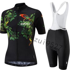 2020 caliente nuevo Morvelo manga corta ciclismo conjunto Jersey Verano Mujeres Mtb ropa de la bicicleta 9d Gel Pad Bib Shorts Ropa Bike la Sportswe