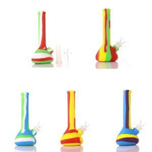 7inch Beaker Entwurf Silikon-Wasser-Rohr-Mini Silikon Beaker Bong unzerbrechlich Dab Rig bong mit Silikon Downstem