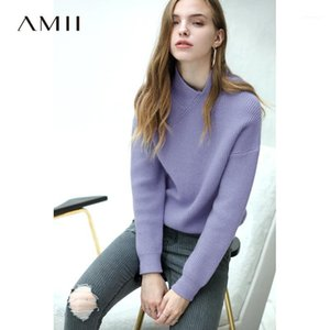 Amii minimalista suéter de punto otoño mujeres moda sólido slim ajuste elegante femenino jersey suéter 118201201