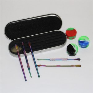 dabber tool set Glass nectar collectors with titanium Tips Dab Straw Oil Rigs Silicone Smoking Pipe glass pipe glass water pipes