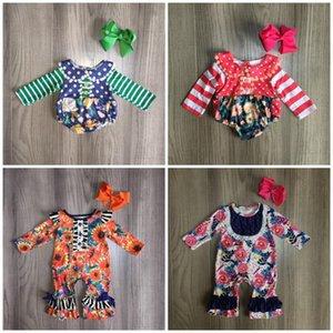 Girlymax Fall / Winter Jump Stripe Stripe Orange Amarilla Floral Baby Girls Boutique Ropa Infantil Algodón Tutu Tutu Momper Toddler Match Bow 201133