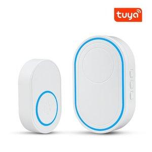 الجرس واي فاي wifi 433 ميجا هرتز الذكية الجرس اللاسلكي الترحيب الزائر دعم tuya التطبيق الأمن المنزلية نظام إنذار لص led ضوء 58 حلقة الأغاني 1