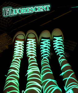 120cm Fluorescent shoelaces glowed in the dark flat shoelaces 6 colors shine in the dark Polyester Shoelaces For Sneakers Shoeslaces