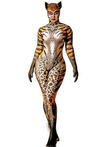 Zentai Adult Women Cat Print Skinny Bodysuit Jumpsuit Halloween Cosplay Costume Nightclub Club Party Stage Performance Tight Performance