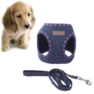 2020 Weiche Kleine Hundegeschirr Vest Leine Set Adjustable Denim-Brustgurt Hundewelpen Gehen Blei Katze Sicher Leine British Style