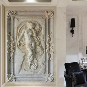 Custom Mural Wallpaper European Style 3D Stereoscopic Art Relief Angel Nude Statue Entrance Hallway Corridor Glitter