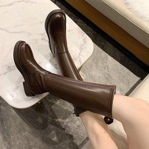 Ботинки колена высокая женская обувь 2021 рыцарь зимнее бедро черное коричневое botas mujer