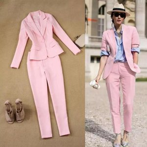 Pink 2 Pieces Pant Suit Women Formal White Suit Female Office Slim Ladies Interview Suits One Button Pants And Blazer Set Womens