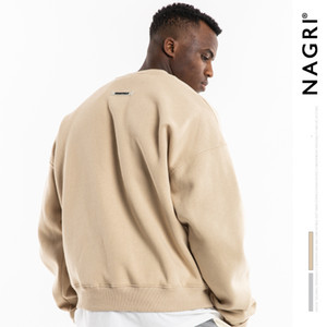 Nagri Fashion Brand Fog Autumn and Winter New Clothing Solid Round Neck Light Fleece Casual Pullover Men's Sweater