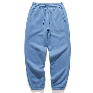 Mens Plain Fleece Hose Kordelzug Jogger Hiphop Männer Feste Farbe Elastische Taille Sweatpants 2021AW Paar Lose Joggers