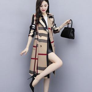 Aecu automne femmes long trench de trench-manteau bureau femme simple classique manteau à carreaux avec brise-vent femelle chic