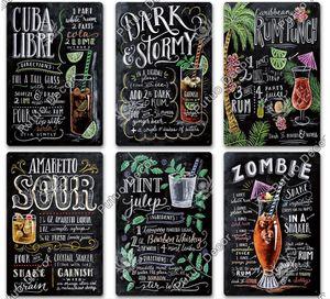 Poster de lata de parede vintage adesivos de parede decoração retro Cuba mojito cocktail placa de placa de metal tiki bar cozinha decoração 8833