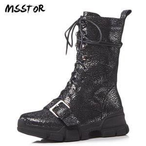 MSSTOR Shoelaces Rivet Silver Shoes For Women Round Toe Zipper Casual Fashion Wedges Platform Boots Buckle Stray Winter Boots