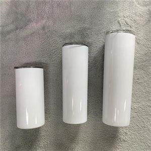 Sublimación Tumblers rectos en blanco 15-20-30 onzas de acero inoxidable tazas de coche tazas de viaje tazas con botella de agua aislada de paja de acero