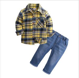 Çocuk Erkek Giyim Setleri Pamuk Çocuk Ekose Gömlek + Kot Bahar Sonbahar Çocuk Erkek Setleri Çocuk Giyim