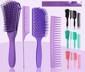 4PCS dressing Hairbrush Set -Detangler Styling Brush,static rat Tail Comb & Wide Tooth Comb for Women, Men and Kids