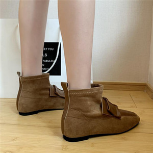 COOTELILI Boots Women Autumn Warm Shoes Square Toe Slip On Flat Heel 2020 New Fashion Boots For Women Basic Casual Plus Size 40