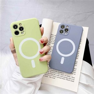 Magnetic Case Luxury Strong Magnet Liquid Silicone Back Cover For iPhone 12 Pro Max Coque with Lanyard
