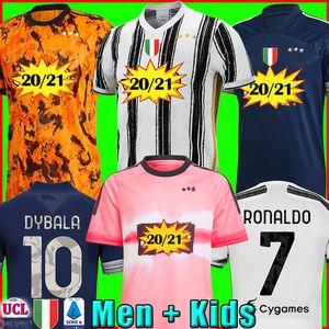 Fans versione giocatore Juventus maglia da calcio 2020 2021 RONALDO McKENNIE MORATA DE LIGT 20 21 uniformi RAMSEY DYBALA JUVE uomini + bambini kit razza umana quarto