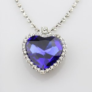 New Austrian Crystal Heart Of Ocean Pendant Necklace The Gift for Girl Friend Love Forever Fashion Jewelry Silver Chain Necklace